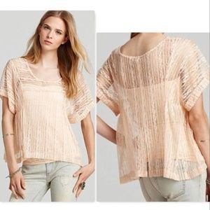 Free People Peach Sheer Lace Top Sz M